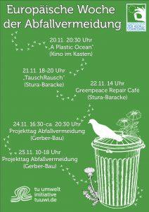 tuuwi-Plakat zur Abfallvermeidungswoche, grün mit weißer schrift, mülltonne, taube und blumen