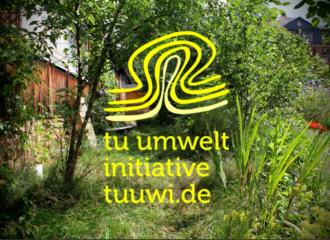 gelbes tuuwi-logo vor Gartenhintergrund mit Vignettierung.